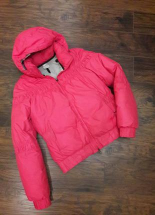 Теплый зимний пуховик куртка фуксия  оригинал nike adidas