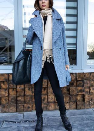 Пальто твидовое демисезон серый