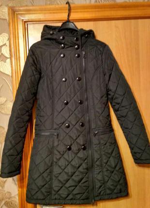 Демисезонное стеганное пальто, косуха,куртка