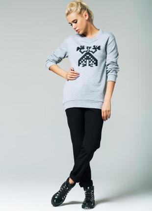 Тёплый удлинённый серый свитшот nenka. все размеры