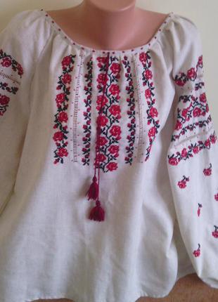 Вышиванка женская ручная работа длинный рукав (серый лен-розы).