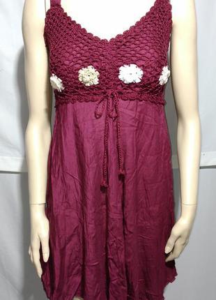 Красивый сарафан платье бордо марсала вязаные элементы