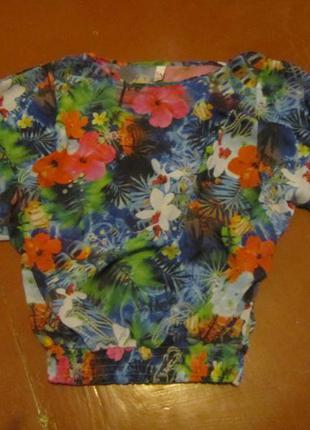 Шифоновая блуза в тропический принт