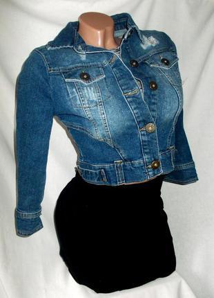 Скидка на весь товар -50% от цены!стильный джинсовый укороченный пиджак синий жакет болеро next -50%