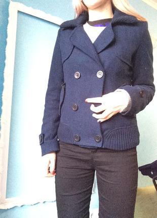 Пальто укороченное/ only/ двубортное шерстянное пальто темно синего цвета кашемировое
