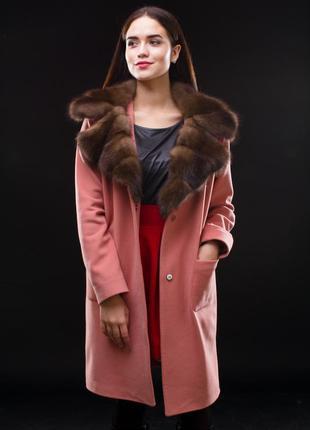 Пальто с мехом -соболь! италия кашемир супер цена супер цвет воротник соболь баргузин