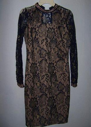Кружевное платье с камнями праздничное1