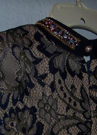 Кружевное платье с камнями праздничное3