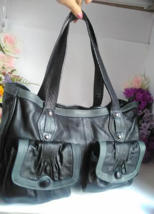 Эффектная большая вместительная кожаная сумка, натуральная кожа,