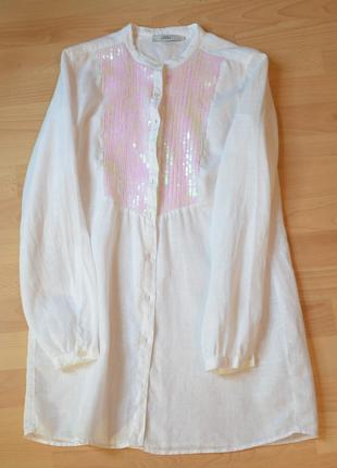 Льняная рубашка платье туника  0039 italy