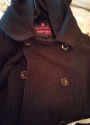 Парка на теплую зиму. укороченое двубортное пальто с капюшоном и трикотажными рукавами oversize