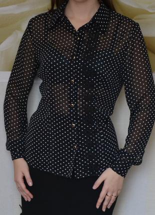 Блузка из шифона в горошек с отделкой из плиссе