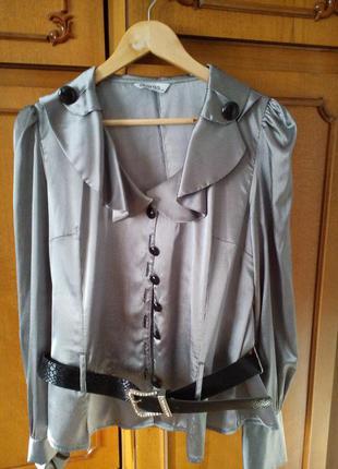Блузка женская в полоску с ремнем классика р 44 блуза офисная