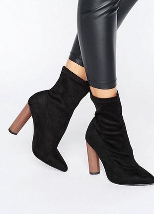Полусапожки на блочном каблуке с заостренным носком от asos