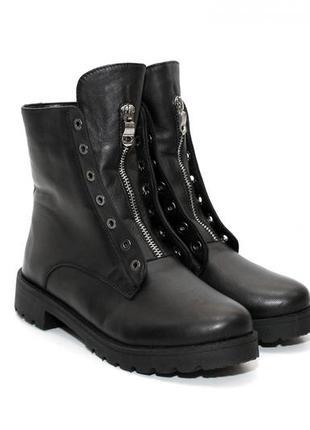 Кожаные женские зимние/осенние ботинки balmain,черные,36-41р