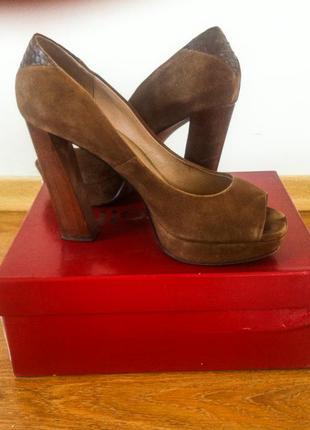 Замшевые туфли mascotte оригинал 39р новые набойки в подарок