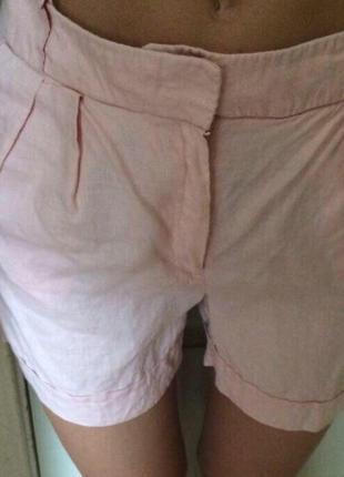 Новые шорты розовые манго лён