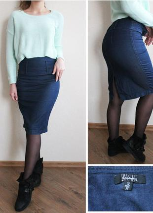 Джинсовая юбка карандаш stradivarius