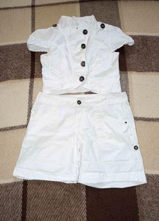 Белый набор  шорты и рубашка