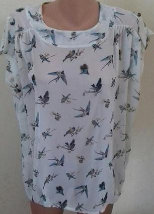 Шифоновая блуза свободного кроя с принтом