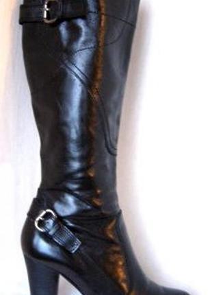 Черные кожаные сапоги на небольшой платформе belmondo 36 р., натуральная кожа