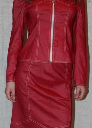 Джинсовый костюм жакет юбка