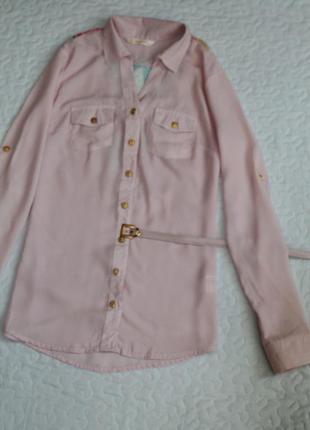 Рубашка  с поясом  цвет чайная роза