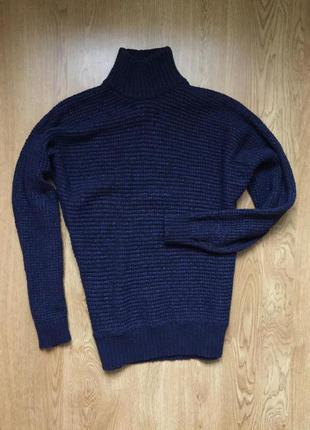 Шикарный темно-синий свитер из итальянской шерсти massimo dutti1