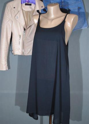 Черное шифоновое платье в бельевом стиле размер m/l сарафан