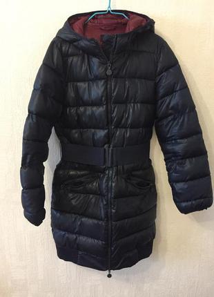 Синяя длинная куртка oodji