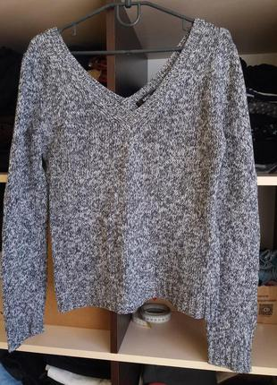 Пуловер с v- образным вырезом цвета серый меланж2