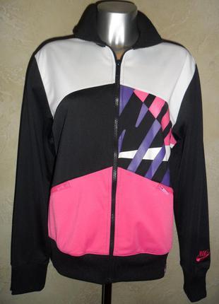 1+1=3 яркая спортивная черная розовая на молнии ветровка кофта худи олимпийка nike l-xl puma adidas
