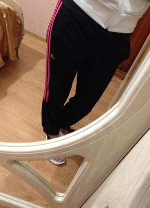 Спортивные штаны adidas, черные розовые полоски