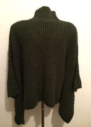 Необычный стильный свитер пончо цвет тауп s-m3