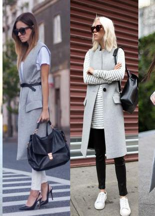 Zara длинное пальто без рукавов