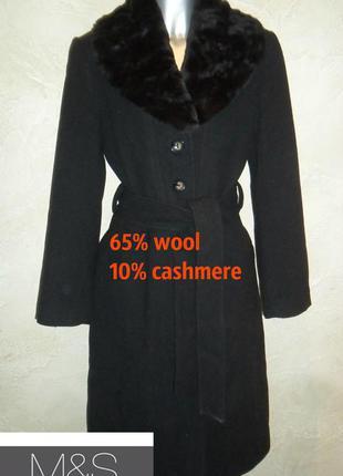 1+1=3 стильное элегантное теплое шерстяное кашемировое черное с мехом пальто m&s l-xl zara