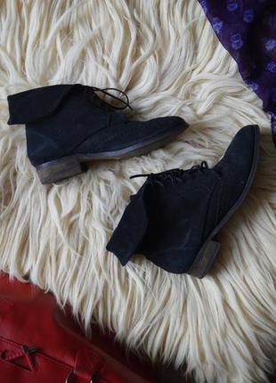 Замшевые ботинки zara на шнуровке