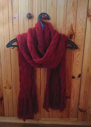 Зимний, бордовый шарф