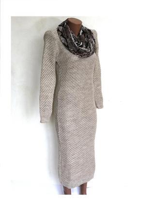 Меланжевое шерстяное зимнее теплое вязаное платье миди. качество супер! доставка бесплатно.3