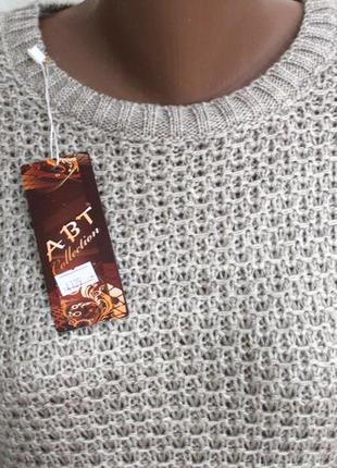 Меланжевое шерстяное зимнее теплое вязаное платье миди. качество супер! доставка бесплатно.4
