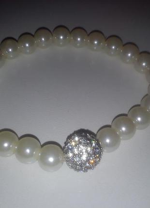 Шикарный браслет «бриллианты и жемчуг»2