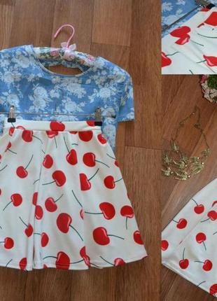 Невероятно красивая юбка в вишни river island