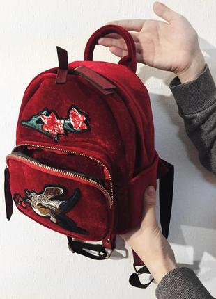 Бархатный велюровый рюкзак красный марсала