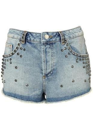 Шорты topshop moto holly studded denim shorts  w28