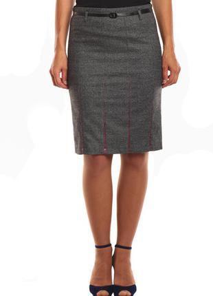 Теплая юбка с цветными вставками