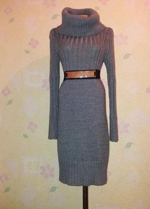 Очень тёплое вязанное платье миди