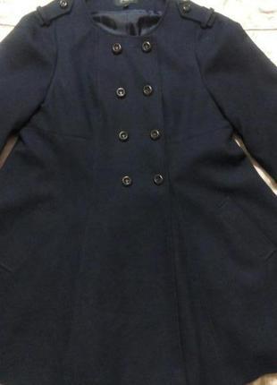Клешеное пальто, темно синего - черное цвета1