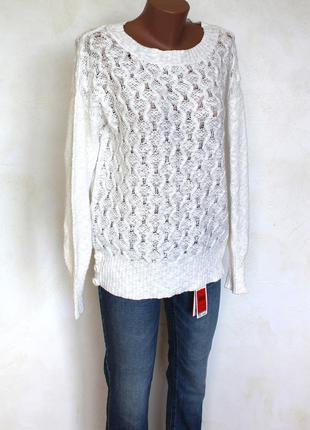 Нежный ажурный , белоснежный свитшот свитер оверсайз от m&co, доставка бесплатно.1