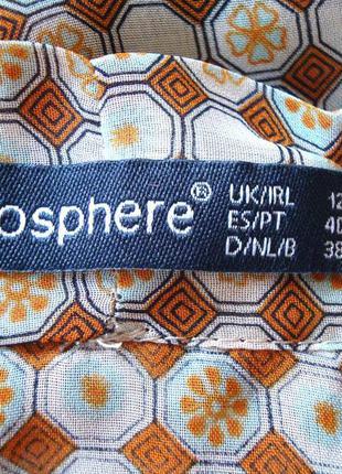 Красивая блуза из шифона с геометрическим рисунком atmosphere uk12 состояние идеальное3