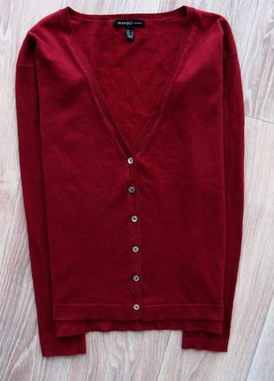 Базовая кофта на пуговицах кардиган пуловер свитер джемпер цвета марсала mango2